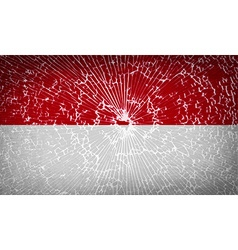 Flags Indonesia with broken glass texture vector