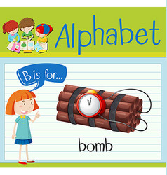 Flashcard letter B is for bomb vector image