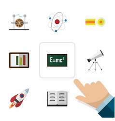 flat icon study set of theory of relativity vector image