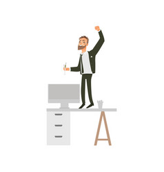 Flat office worker man dancing at table vector