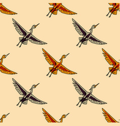 Flying crane seamless pattern vector