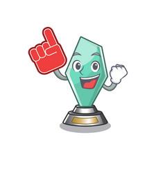 Foam finger acrylic trophy stored in cartoon vector