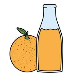 Fresh orange juice fruit in botttle vector