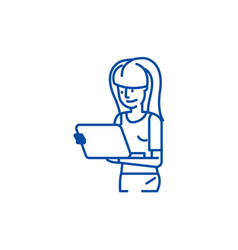girl watching movie on tablet line icon concept vector image