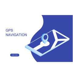 gps navigation in the phone with pointer vector image