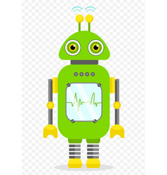 Green cheerful cartoon robot character vector