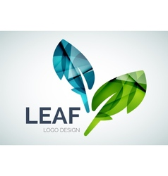 Green eco leaves logo made of color pieces vector image