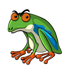 Green frog with serious face vector