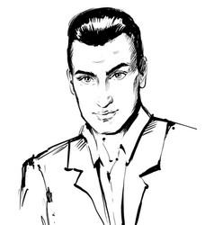 Handsome serious confident man portrait vector