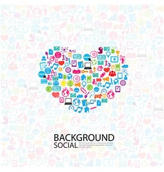 Heart template design with social network icons vector