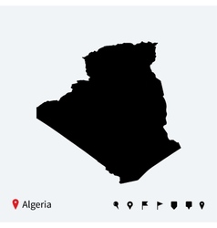 High detailed map algeria with navigation pins vector