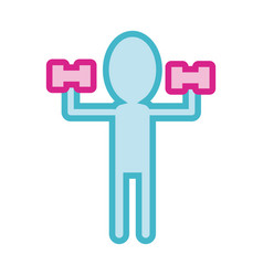 Human silhouette lifting dumbbells line and fill vector