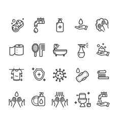 hygiene signs black thin line icon set vector image