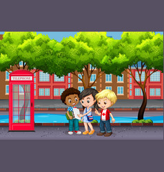 international children in the city vector image