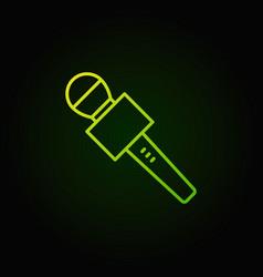 Journalist microphone green icon vector