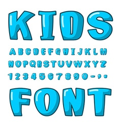Kids font Voluminous blue letters ABC for kids vector image