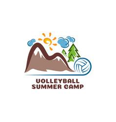 logo volleyball summar camp fun cartoon vector image