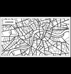 London map in black and white color vector