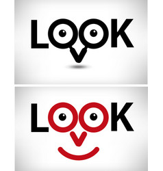 look - happy smiling face with look vector image