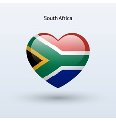Love South Africa symbol Heart flag icon vector image