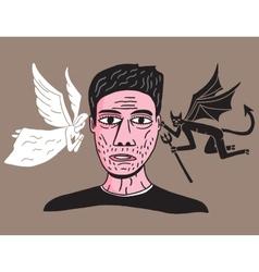 Man between angel and demon vector