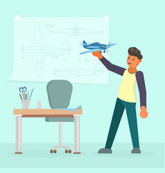 man making model of airplane flat vector image