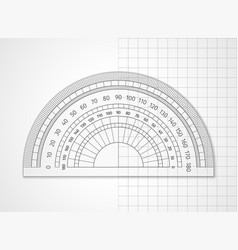 measuring tool transparent plastic protractor vector image