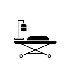 medical bed black icon sign on isolated vector image