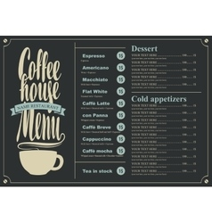 menu with price for the coffee house vector image