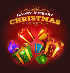 Merry christmas background with explosion of gifts vector