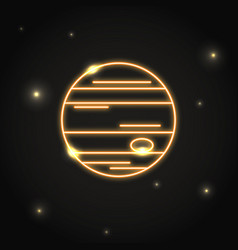 Neon planet jupiter icon in thin line style vector
