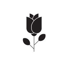 one rose black concept icon one rose flat vector image