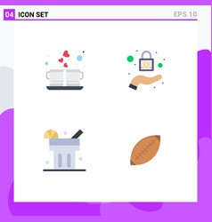 Pack 4 creative flat icons coffee drink vector