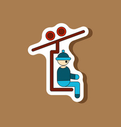 Paper sticker on stylish background man on ski vector