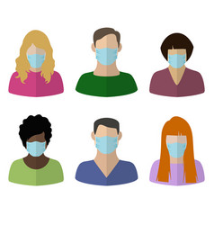 people in medical masks vector image