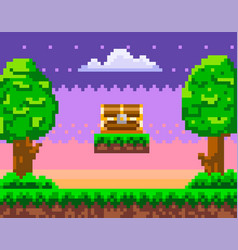 Pixel-game background with chest in sky pixel art vector