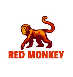 red monkey mascot logo vector image