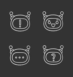 Robot emojis chalk icons set vector