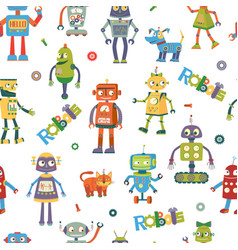 Robots cartoon seamless pattern vector
