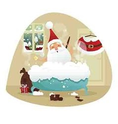 Santa taking a bath vector