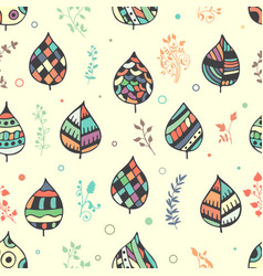 Seamless decorative pattern with hand drawn leaves vector