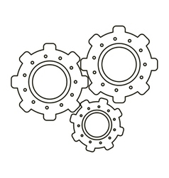 Set gear wheel engine teamwork outline vector