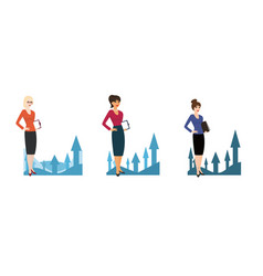 set of character business woman on background of vector image