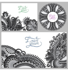 Set of grey floral decorative background template vector