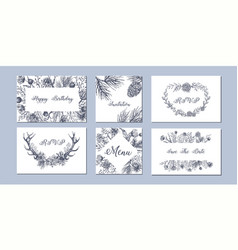 Set of hand drawn winter seasonal backgrounds vector