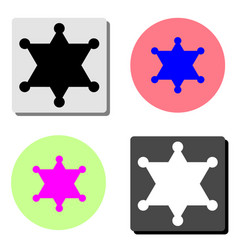 sheriff star flat icon vector image