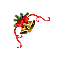 Shiny golden christmas bell vector