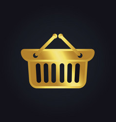 shopping cart basket buy gold logo vector image