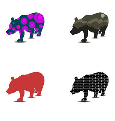 silhouette of bear set in vector image