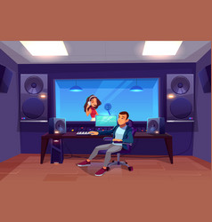 Singer and sound engineer in recording studio vector